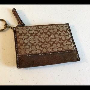 COACH Brown Leather Change Purse/key chain
